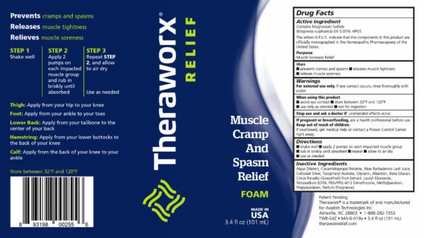 Theraworx Relief 3.4oz Muscle Cramp and Spasm Label